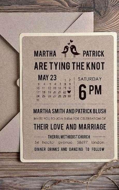 54. Ideia para convite de casamento simples e barato com papel reciclável – Foto: Pinterest