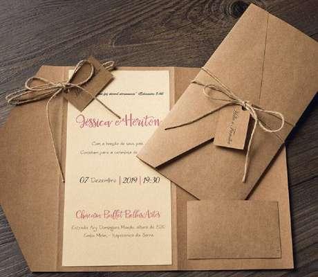 80. Modelo de convite de casamento simples e rústico. Fonte: Simples e Criativo