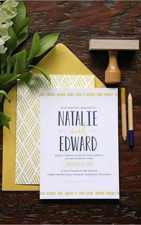 10. Modelo de convite de casamento simples – Foto: Pinterest