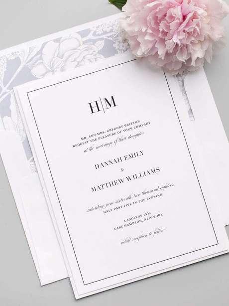 59. Modelo de convite de casamento simples e clássico – Foto: Shine Wedding Invitations