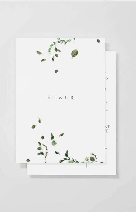 63. O minimalismo está super em alta até nos detalhes do convite de casamento simples – Foto: Pinterest