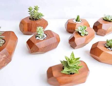 59. Pequenos pedaços de madeira podem servir como vasos para diferentes tipos de cactos. Fonte: Pinterest