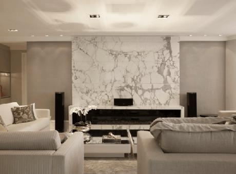 31. Lareira da sala com mármore – Via: Assim Eu Gosto