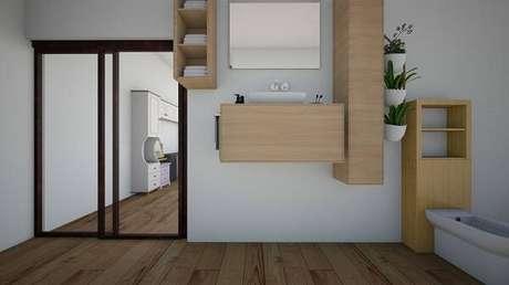 25. Banheiro com diferentes tipos de cactos. Projeto por Eduarda Ferreira