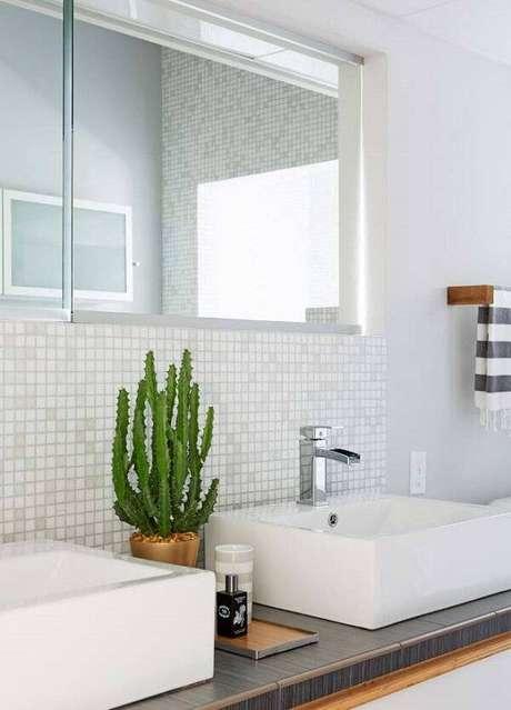 65. Decore o espaço da banheiro com diferentes tipos de cactos. Fonte: Pinterest