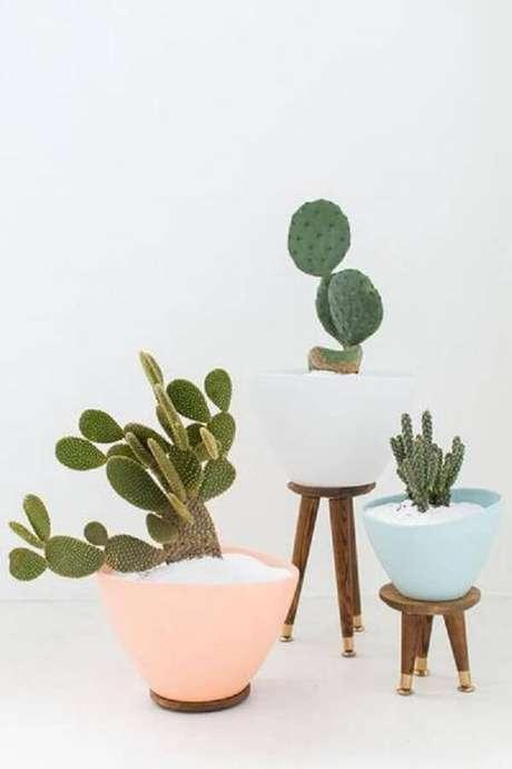 39. Utilize vasos coloridos para cultivar diferentes tipos de cactos. Fonte: Pinterest