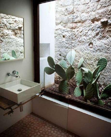 66. Aproveite o espaço do banheiro e forme um lindo jardim de inverno com diferentes tipos de cactos. Fonte: Pinterest