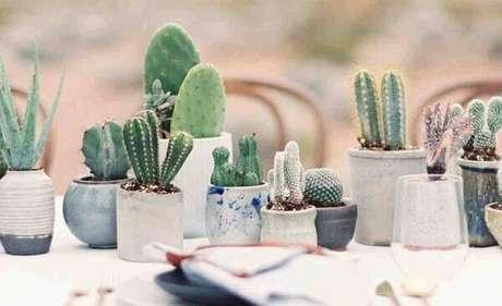 49. O vaso de cimento abriga diferentes tipos de cactos e suculentas. Fonte: Pinterest