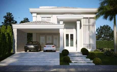 57. Modelos de casas lindas e clássicas toda branca com garagem – Foto: Ilana Santiago