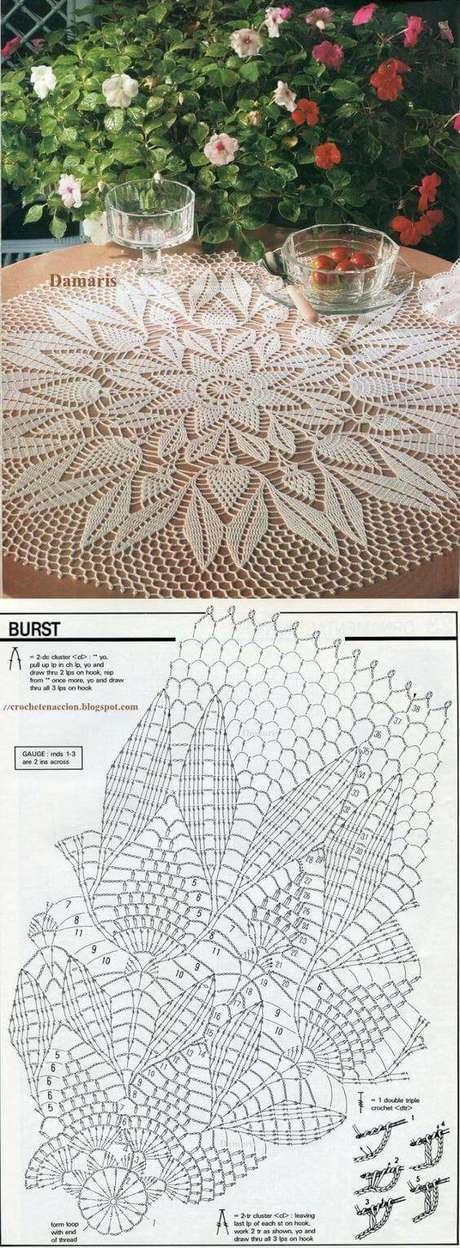 18. Centro de mesa de crochê passo a passo com gráfico para você fazer – Via: Damaris