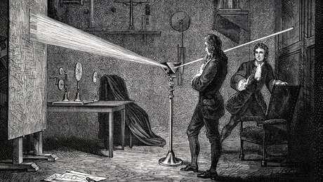 Isaac Newton usou uma prisma para separar a luz do sol em cores