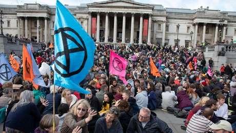 Protesto do Extinction Rebellion em praça de Londres neste ano