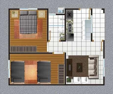8. Plantas de casas simples com dois quartos e cozinha integrada com a sala – Por: Construindo Decor