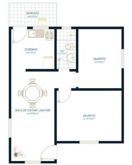 9. Plantas de casas simples para projeto de casa pequena – Por : Construindo Decor