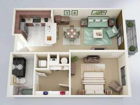 1. Plantas de casas simples com 1 suíte e closet – Por: Terra