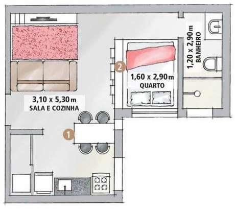 10. Plantas de casas simples com 1 quarto – Por: Pinterest