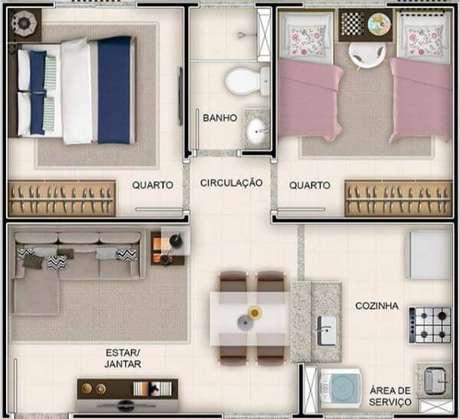 2. Plantas de casas simples com 2 quartos – Por: Meu Apê