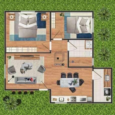 4. Plantas de casas simples e pequenas com 2 cômodos – Por: Office 3D