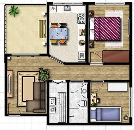 16. Plantas de casas simples com 2 quartos, bem distribuída – Por: Tudo Construção