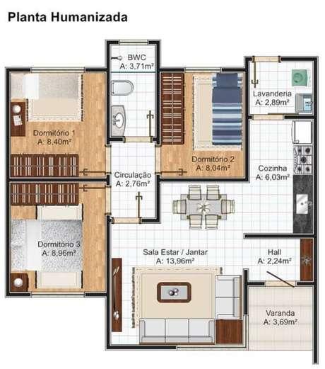 17. Plantas de casas simples com 3 quartos – Por: Plantas de Casas