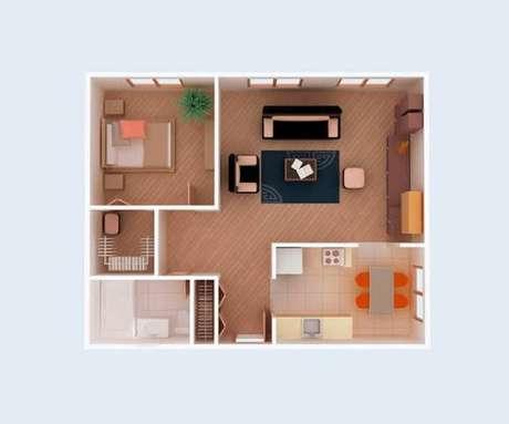 19. Plantas de casas simples com 1 quarto – Por: Revista VD