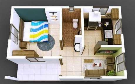 18. Plantas de casas simples com 1 quarto prático e funcional – Por: Revista VD