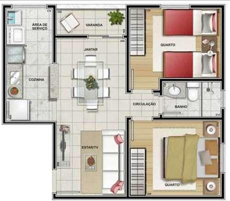 21. Plantas de casas simples com 2 quartos e cozinha americana – Por: Casa e Construção