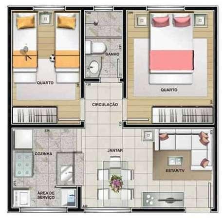 22. Plantas de casas simples com 2 quartos e um banheiro – Por: Construindo Decor