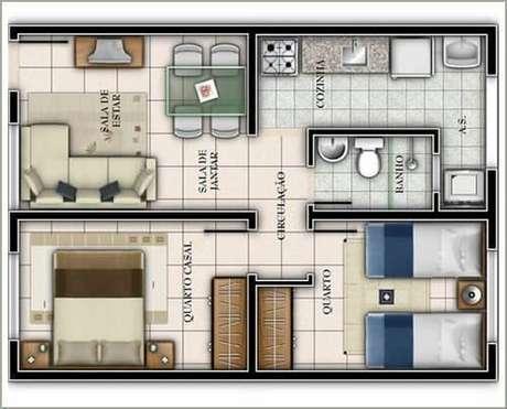 23. Plantas de casas simples com 2 quartos bem organizada – Por: Dcore Você