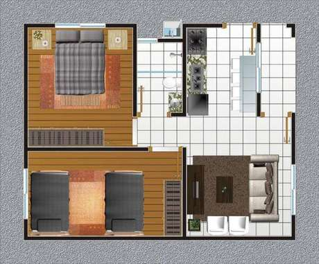 25. Plantas de casas simples com dois quartos, um banheiro e sala integrada com cozinha – Por: Construindo Decor