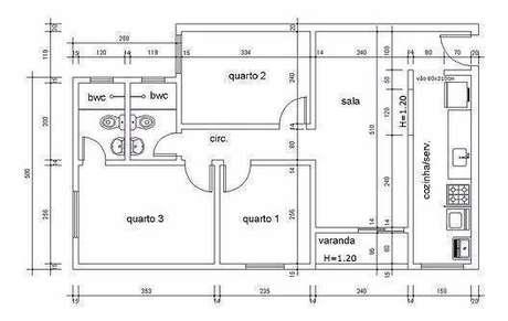 27. Plantas de casas simples com 3 quartos e uma varanda pequena – Por: Tudo Construção