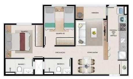 20. Plantas de casas simples com 2 quartos e 2 banheiros – Por: Pinterest