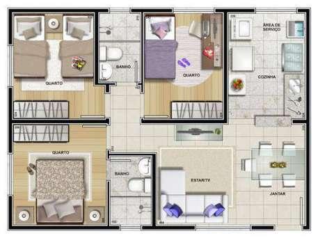 29. Plantas de casas simples com 3 quartos e cozinha ampla – Por: Pinterest