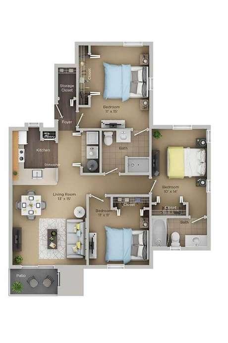 31. Plantas de casas simples com 3 quartos – Por: Pinterest