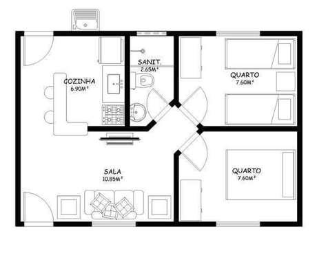 34. Plantas de casas simples com dois quartos, um banheiro e sala com cozinha ampla – Por: Dcore Você