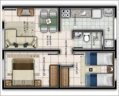 37. Plantas de casas simples e pequena bem planejada – Por: Pinterest