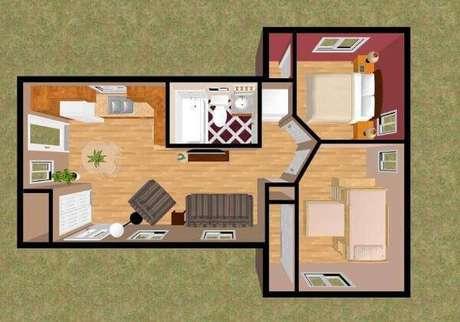 38. Plantas de casas simples e pequena com dois quartos e cozinha integrada com a sala – Por: Pinterest