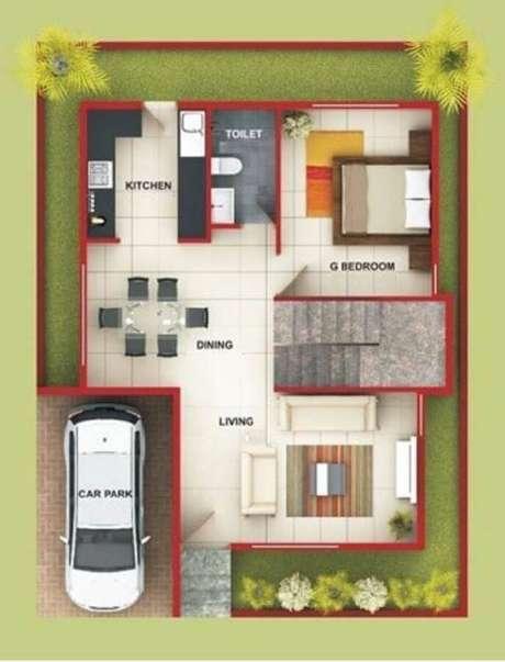 39. Plantas de casas simples e pequena com garagem com 1 vaga – Por: Pinterest