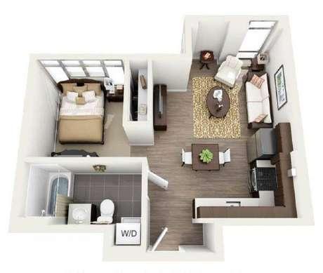 40. Plantas de casas simples e pequena com sala e cozinha, e um quarto – Por: Pinterest