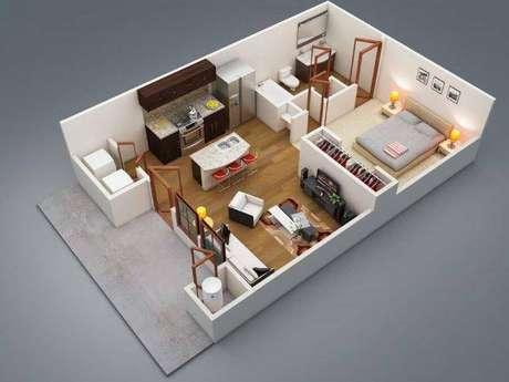 42. Plantas de casas simples e pequenas com a sala espaçosa – Por: Pinterest