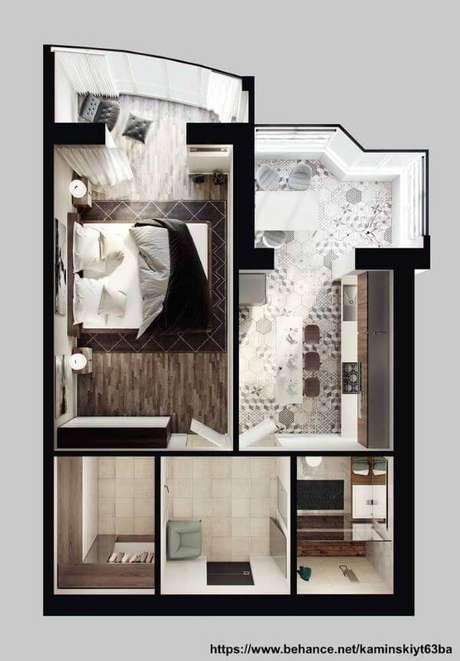 43. Plantas de casas simples com um quarto amplo e bem organizado – Por: Behance