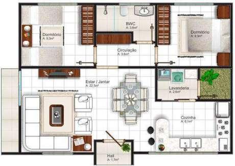 44. Plantas de casas simples com sala de jantar e estar ampla – Por: Casa e Contrução