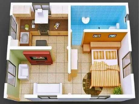 45. Casa pequena com um quarto amplo – Por: Pinterest