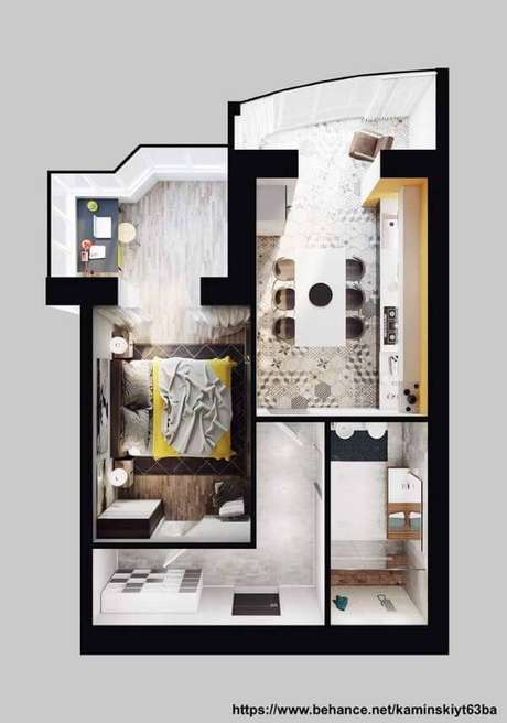 53. Plantas de casas simples e pequenas com quarto amplo – Por: Behance