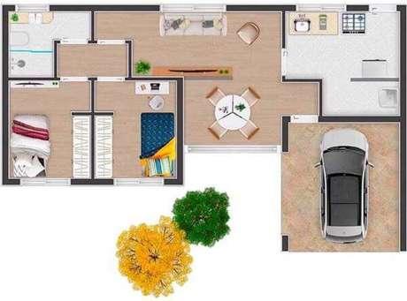 56. Plantas de casas simples com dois quartos, sala, cozinha e garagem – Por: Humanize Plantas