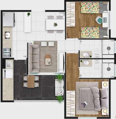 5. Plantas de casas simples com 2 quartos – Por: Carol Cantanhede
