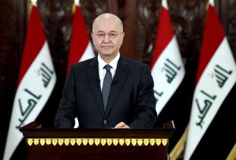 O presidente do Iraque, Barham Salih, profere discurso televisionado para a população em Bagdá, Iraque. 31/10/2019.