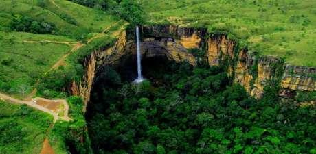 Cachoeira no Parque Nacional da Chapada dos Guimarães, no Mato Grosso