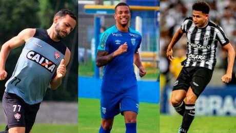 Yago, Caio Paulista e Felippe Cardoso (Fotos: Mauricia da Matta/EC Vitória; André Palma/Avaí; Stephan Eilert/Ceará)