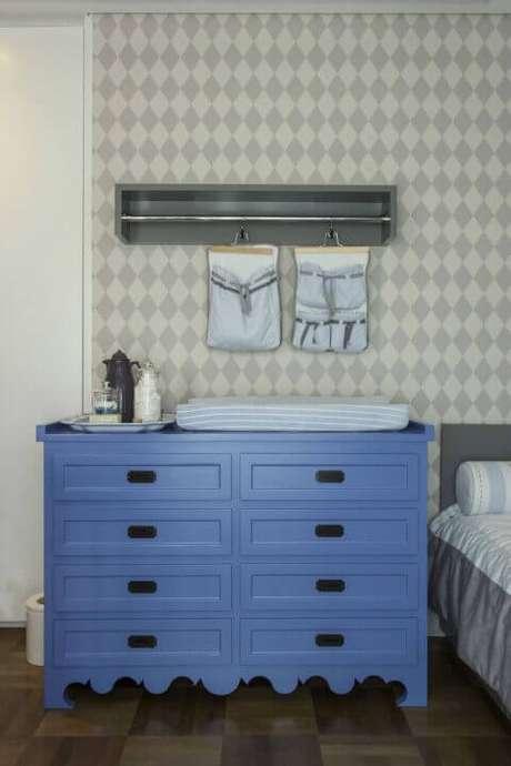 28. Cômoda retrô azul para quarto de menino – Projeto: Triplex Arquitetura